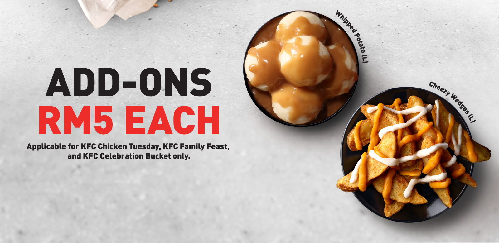Add-Ons, Chicken Tuesday, Whipped Potato, Cheezy Wedges